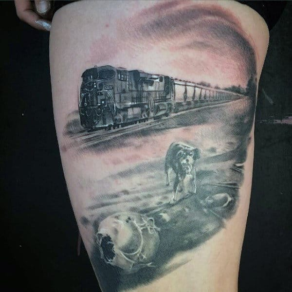Dog Walking By Railroad Tracks Thigh Tattoo On Male