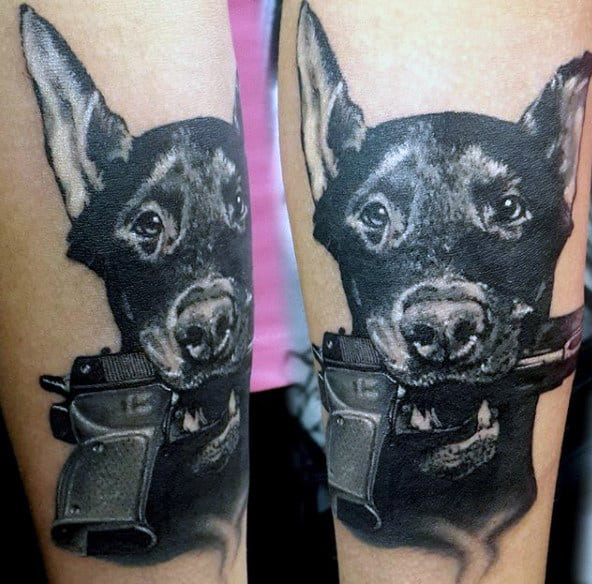 Dog With Gun Men's Tattoo