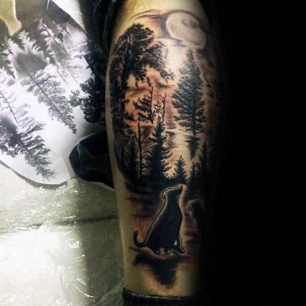 Dogs Under The Moon Mens Memorial Pet Leg Calf Tattoos