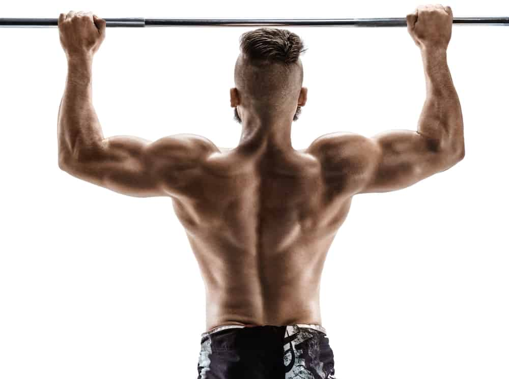 back of young man doing pull ups on white background