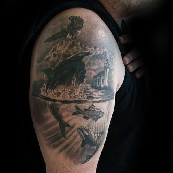 Dolphin In The Water Mens 3d Landscape Upper Arm Tattoo