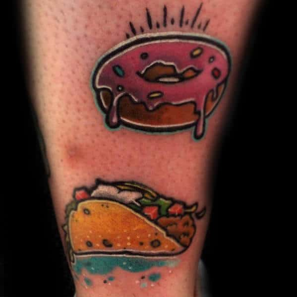 Donut With Taco Guys Back Of Leg Tattoos