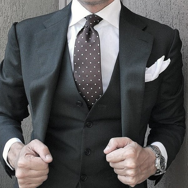 Dot Tie Stylish Male Black Suit Fashion Ideas