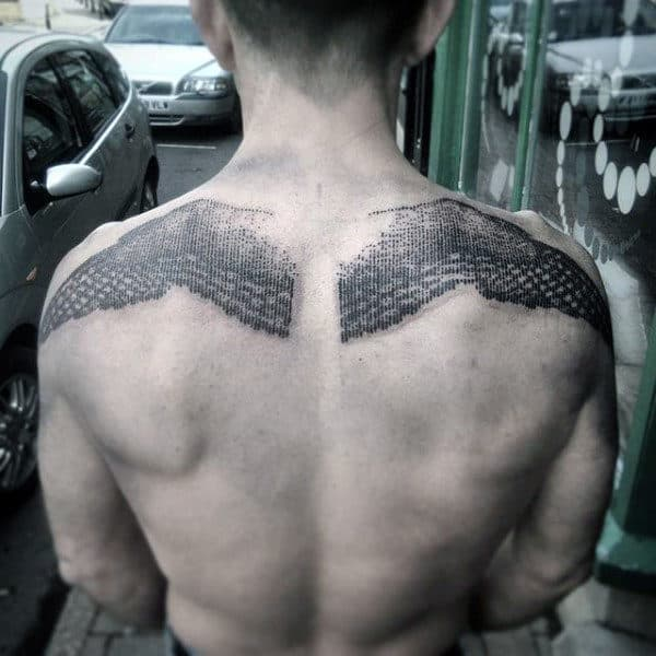 Dot Work Upper Back Mens Badass Black Ink Back Tattoo