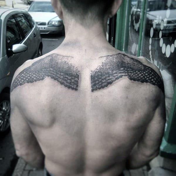 Dot Work Upper Back Mens Badass Black Ink Back Tattoo