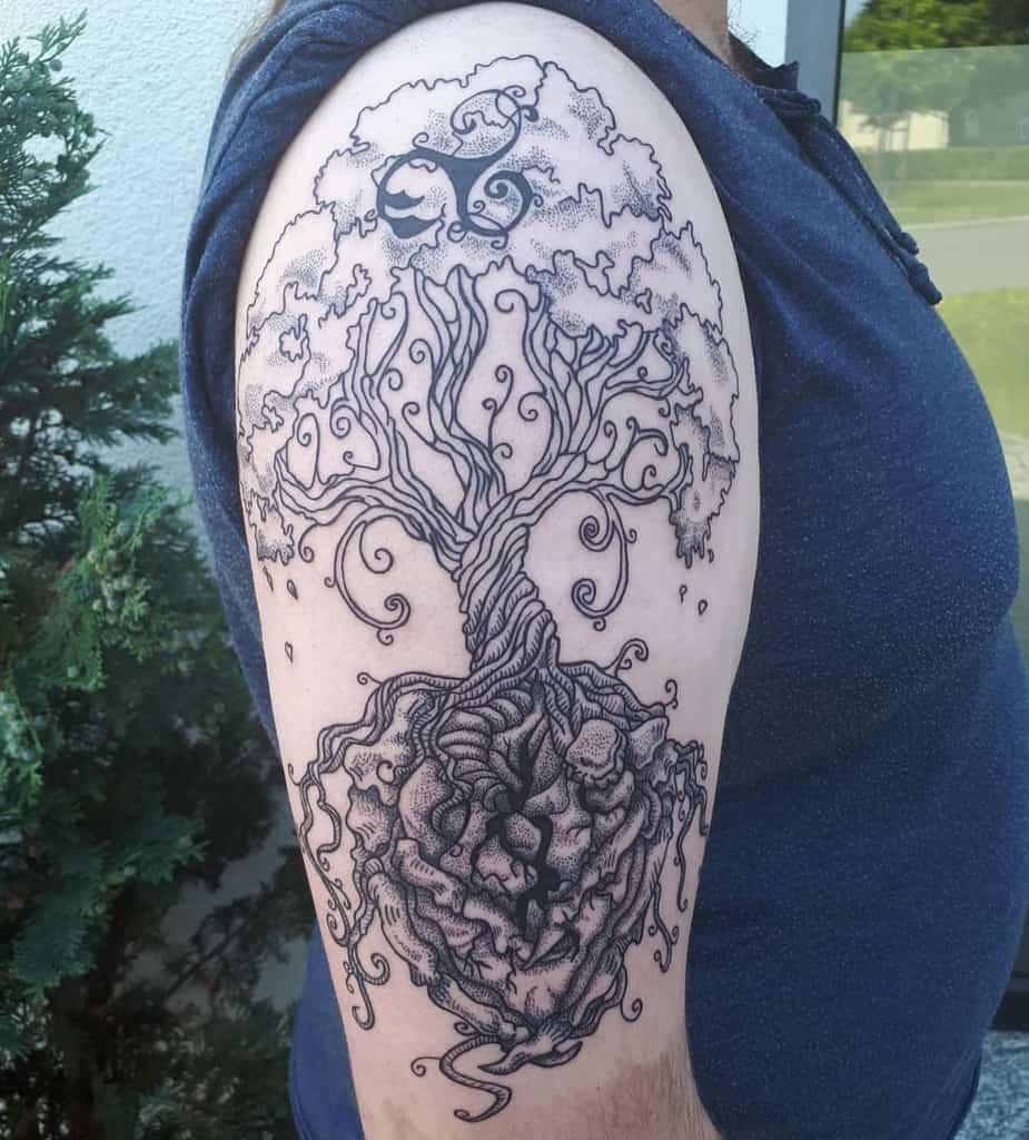 dot work yggdrasil tattoo