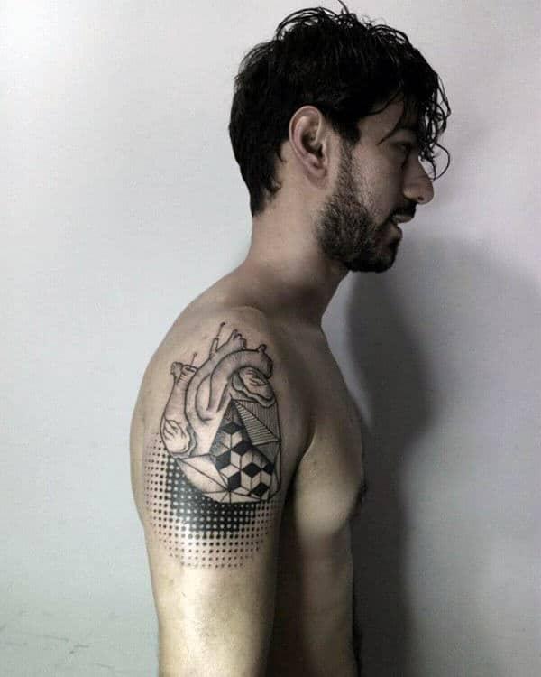 Dots Artistic Geometric Heart Upper Arm Tattoos On Male