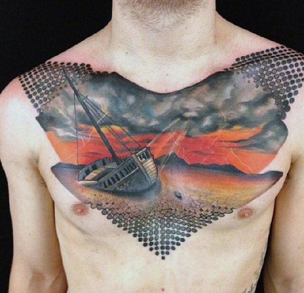 Dots With Ship Washed On Shore Mens Badass Abstract Chest Tattoo