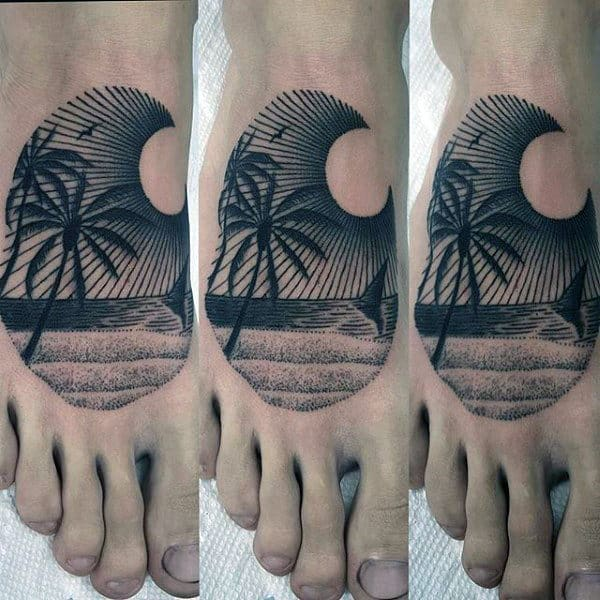 Dotted And Lined Palm Tree Tattoo On Feet For Males