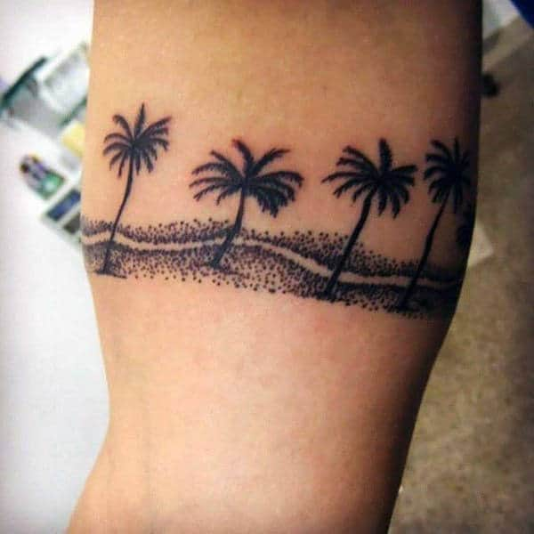 Dotted Black Palm Tree Tattoo On Arms For Male