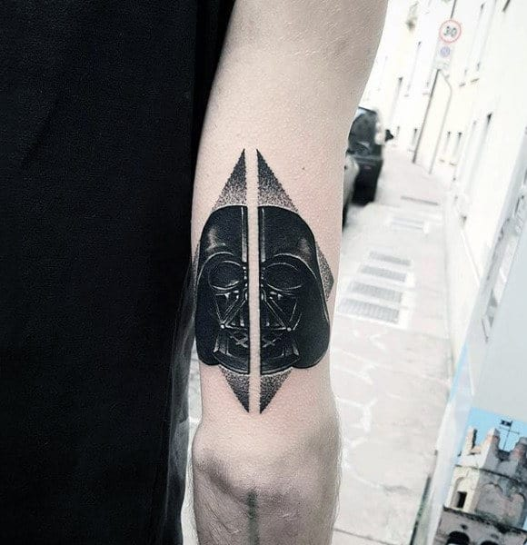 Dotted Cut Darth Vader Tattoo Male Forearms