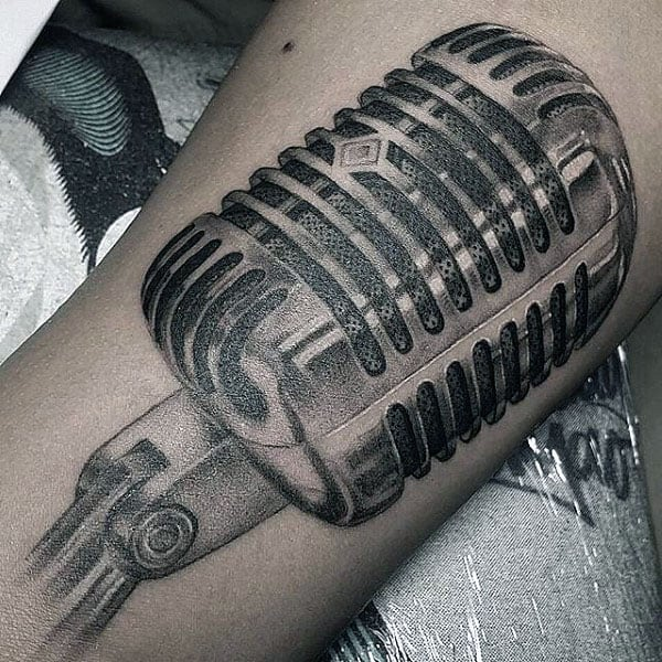 Dotted Design Metallic Microphone Tattoo