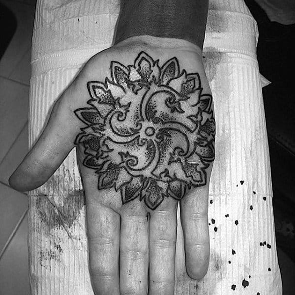 Dotted Grey Flower Tattoo Male Palms