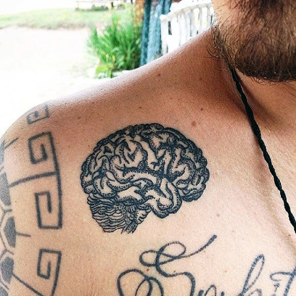Dotted Grey Mens Brain Tattoo On Chest