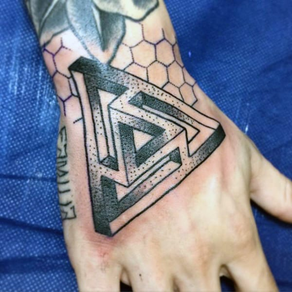 Dotted Penrose Triangle Tattoo On Hands For Men