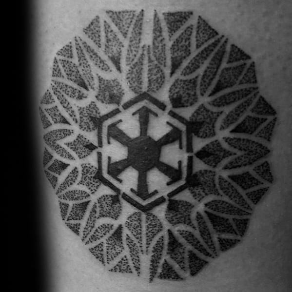 Dotwor Geometric Flower Mens Sith Symbol Tattoo