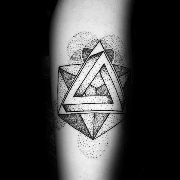 Dotwork 3d Forearm Mens Tattoo Penrose Triangle Design