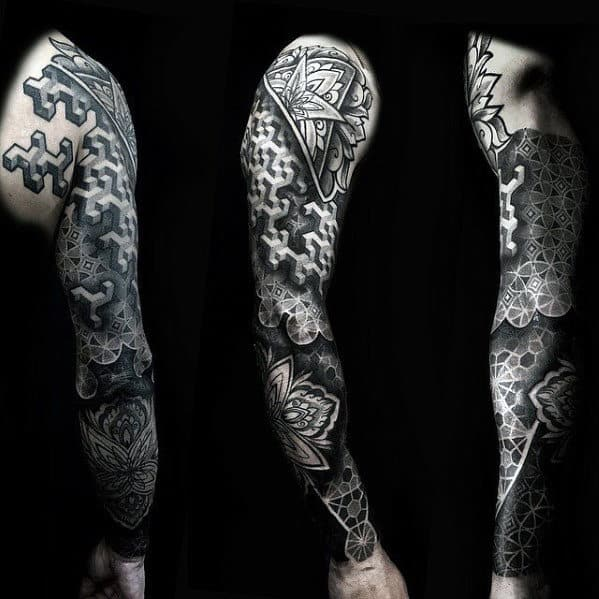 Dotwork 3d Geometric Black And Grey Ink Sleeve Tattoo Ideas For Guys