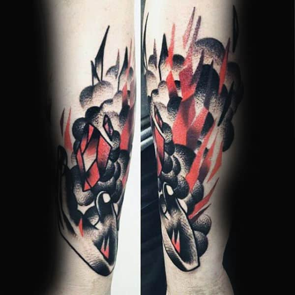 Dotwork Abstract Mens Fire Forearm Tattoo