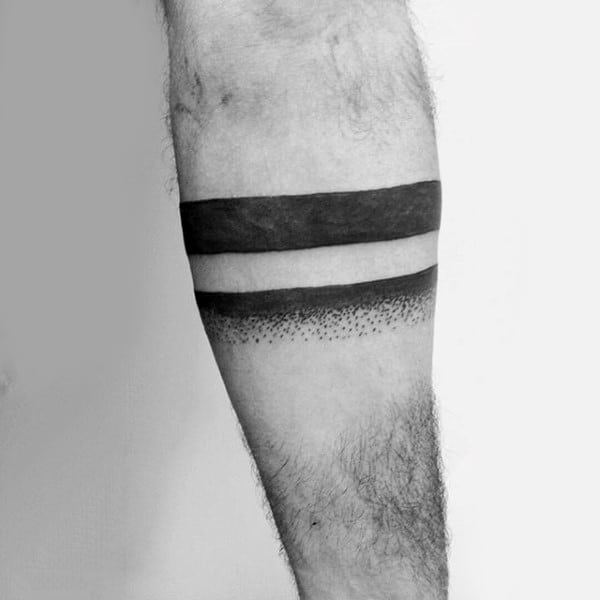 Dotwork Armband Tattoo For Men With Solid Black Line