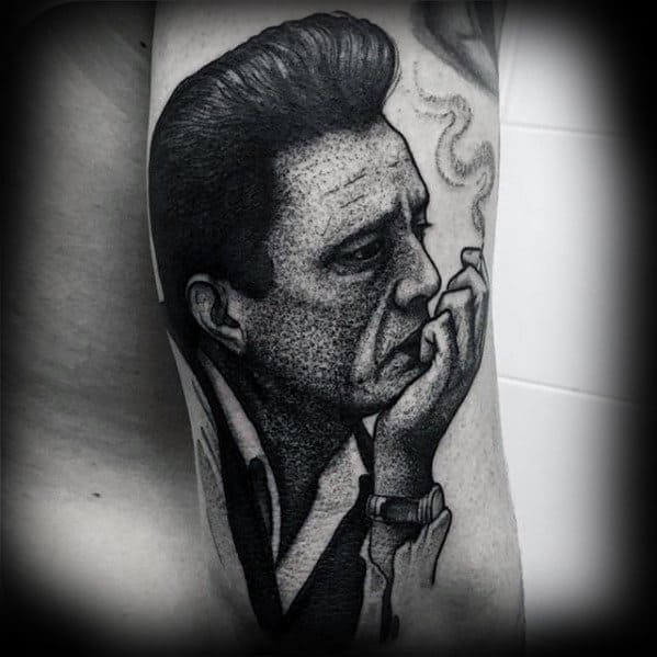 Dotwork Back Of Arm Male Tattoo With Johnny Cash Design