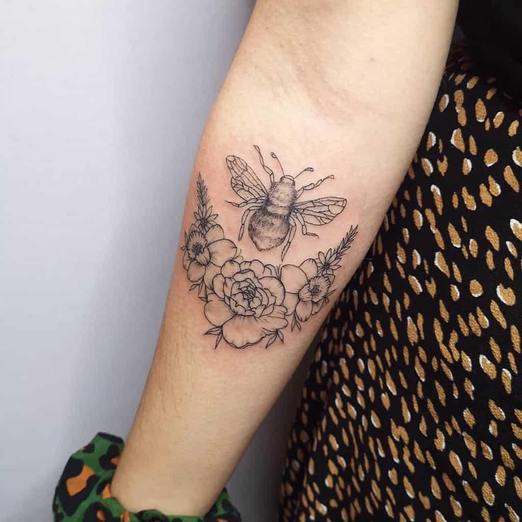 Dotwork Bee Lavander Tattoo
