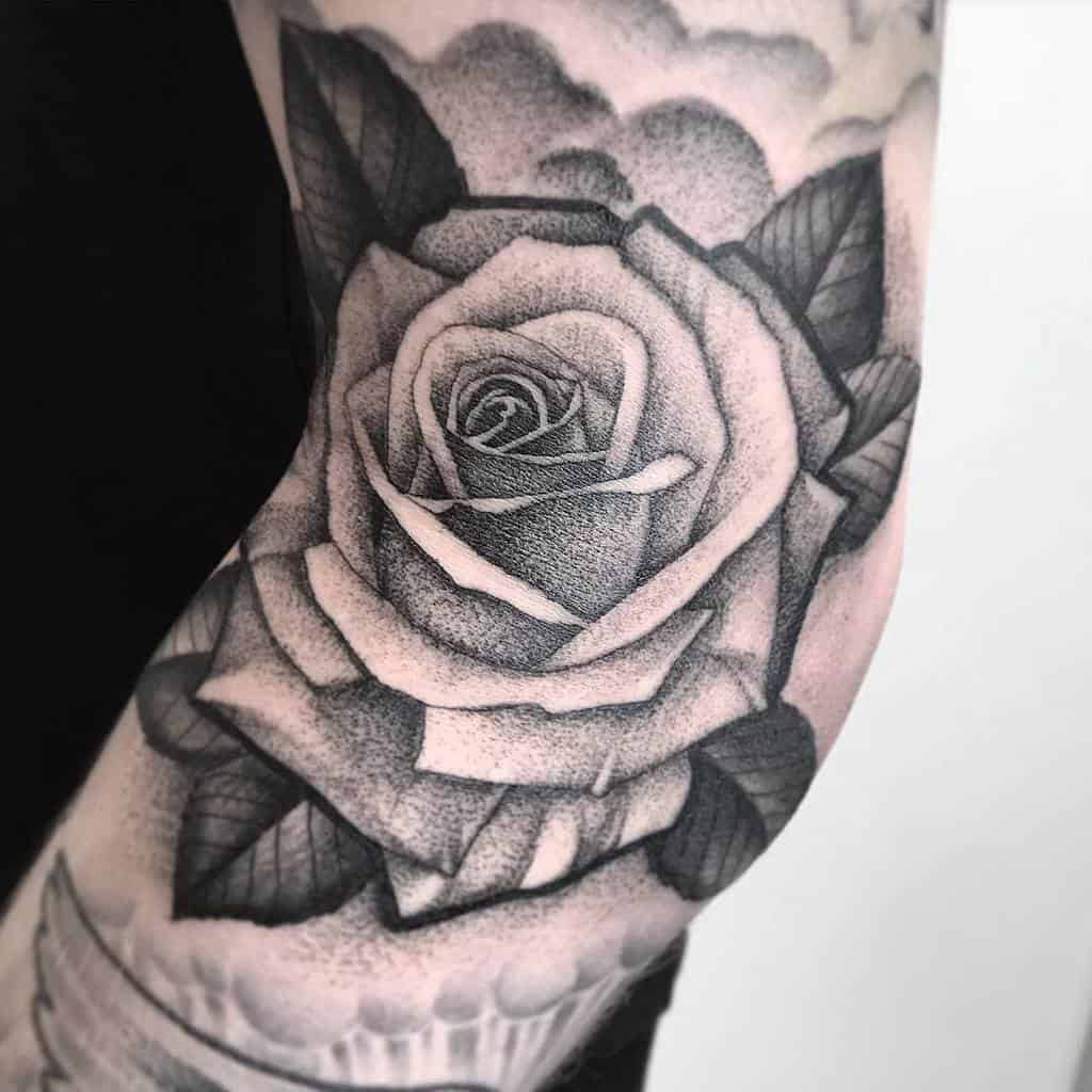 dotwork black and grey rose tattoos ldttattoos