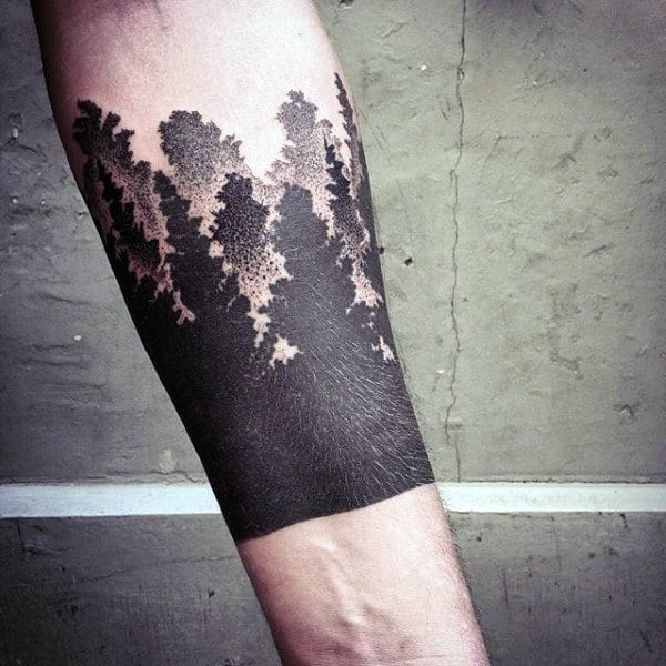 Dotwork Black Ink Male Tree Forearm Tattoos