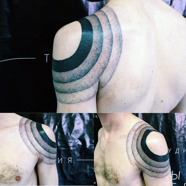Dotwork Circle Male Shoulder Tattoos