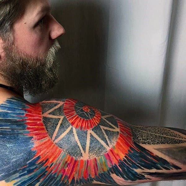 Dotwork Colorful Guys Artistic Half Sleeve Tattoos