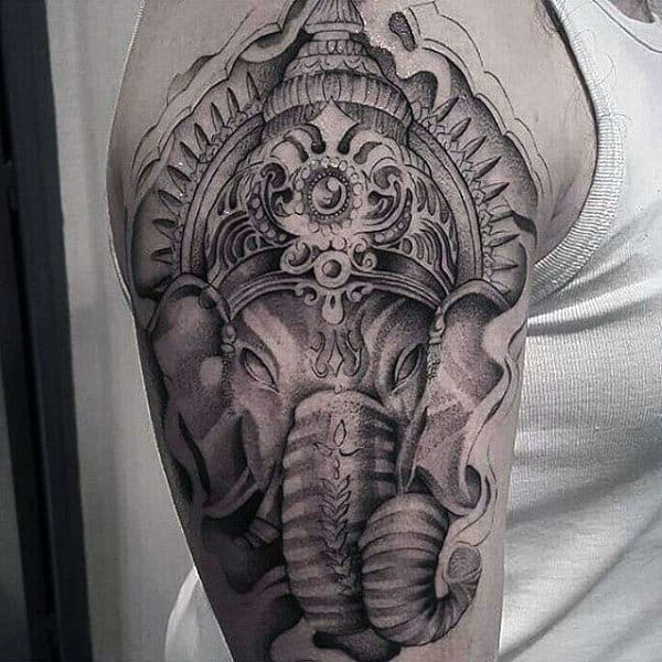 Dotwork Detailed Ganesha Mens Arm Tattoo Designs