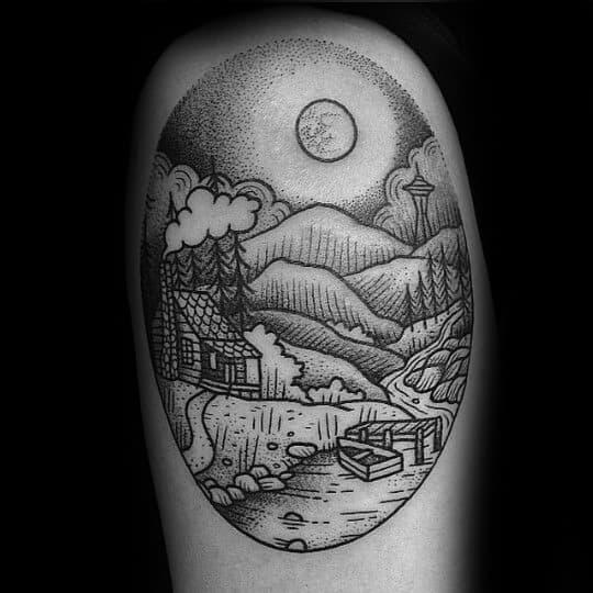 Dotwork Detailed Guys Cabin Lake Thigh Tattoo Designs