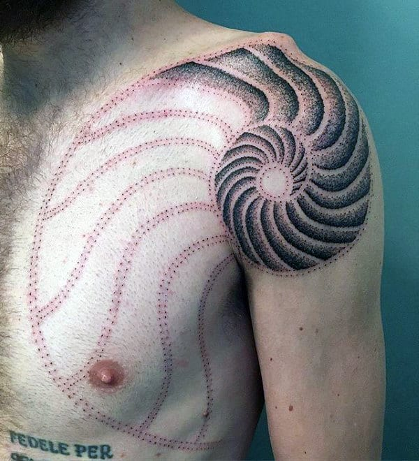 Dotwork Fibonacci Spiral Mens Seashell Tattoo On Shoulder And Chest