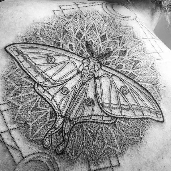 Dotwork Floral Gometrical Pattern Moth Tattoos For Guys On Back