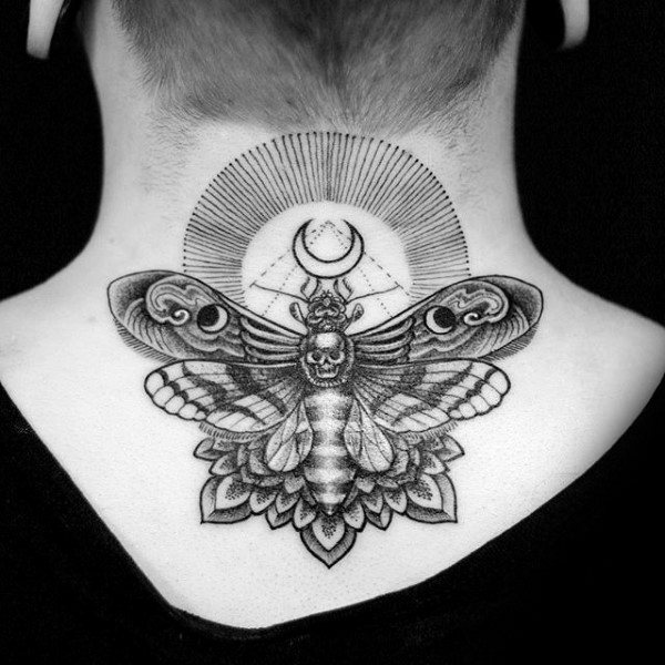 Dotwork Floral Guys Upp Back And Neck Moth Tattoos