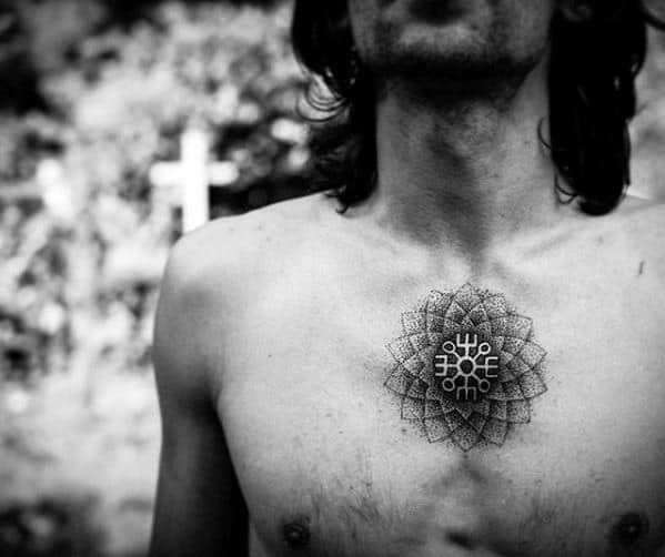 Dotwork Flower Rune Male Upper Chest Small Tattoo Designs