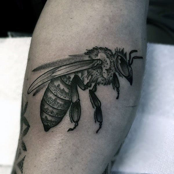 Dotwork Flying Bee Mens Leg Calf Tattoos