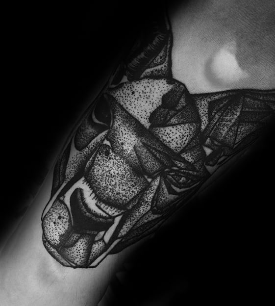 Dotwork Forearm Manly Kangaroo Tattoo Design Ideas For Men