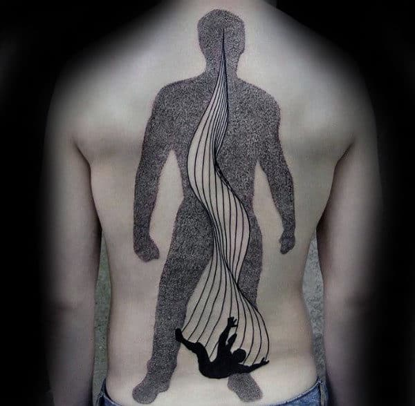 Dotwork Full Back Failling Man Unique Guys Tattoo Ideas