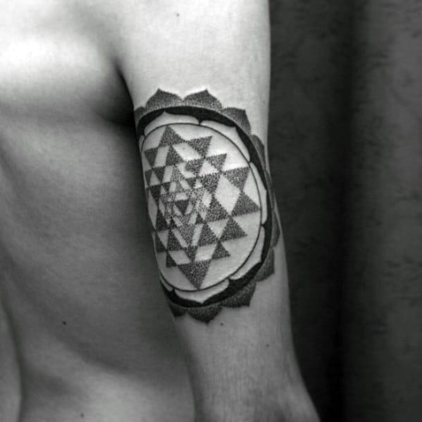 Dotwork Geometric Back Of Arm Triceps Guys Tattoo Designs
