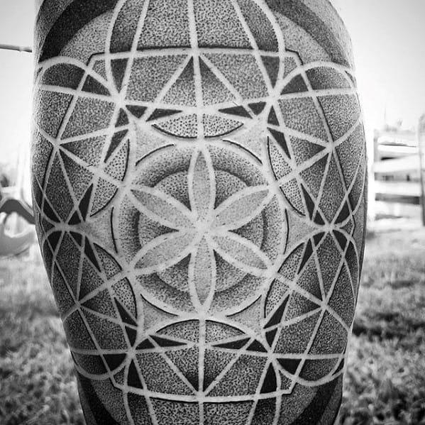 Dotwork Geometric Leg Tattoos For Gentlemen