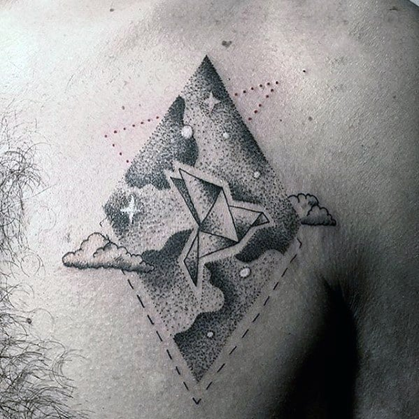 Dotwork Geometric Paper Flying Bird With Stars In Sky Mens Small Chest Tattoo