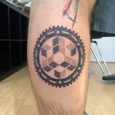 Dotwork Geometric Pattern Sprocket Male Leg Tattoo