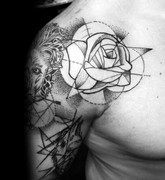 Dotwork Geometric Rose Male Shoulder Tattoo