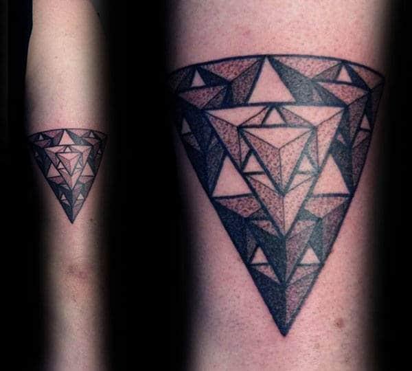 Dotwork Geometricla Triforce Mens Triangular Tricep Tattoo