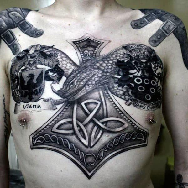 Dotwork Guys Celtic Knot Upper Chest Tattoos