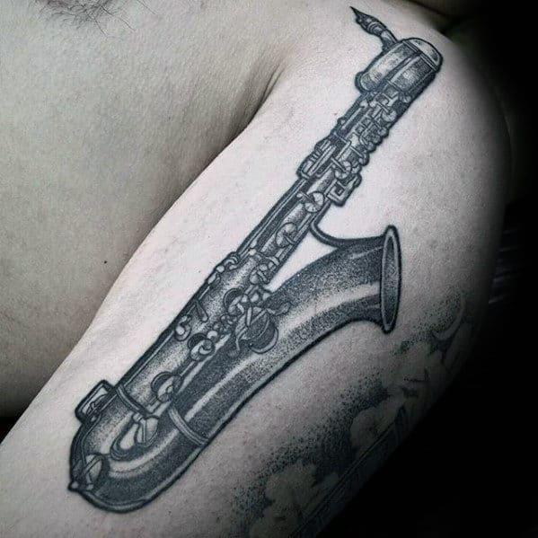 Dotwork Guys Detailed Saxophone Upper Arm Tattoo