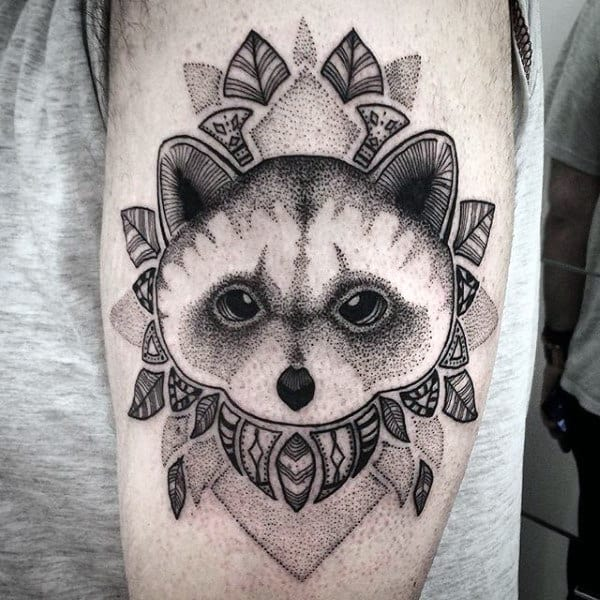 Dotwork Guys Floral Raccoon Arm Tattoo