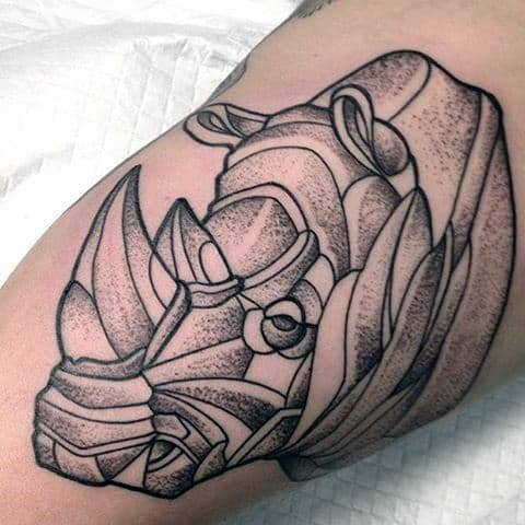 Dotwork Guys Inner Arm Rhino Black Ink Line Tattoo