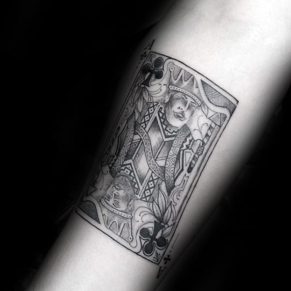 Dotwork Guys King Of Clubs Playing Card Tattoo